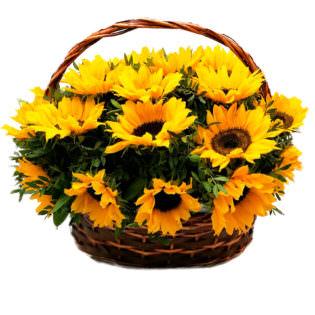 Цветы в корзинке с подсолнухами